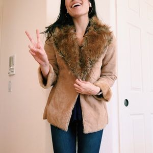 70s style fur and suede jacket